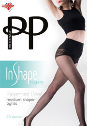 Pretty Polly In Shape Medium Shaper Tights Patterned Brief 20 Denier