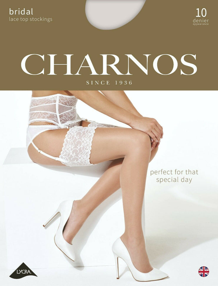 Charnos Bridal Deep Lace Top STOCKINGS 10 Denier Ivory or Champagne Wedding