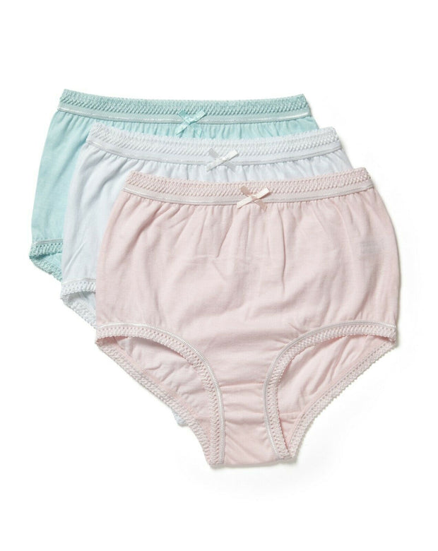 Marlon 100% Cotton Full Briefs Knickers 3 Pair Pack Pink White, Blue SIZE 12-38