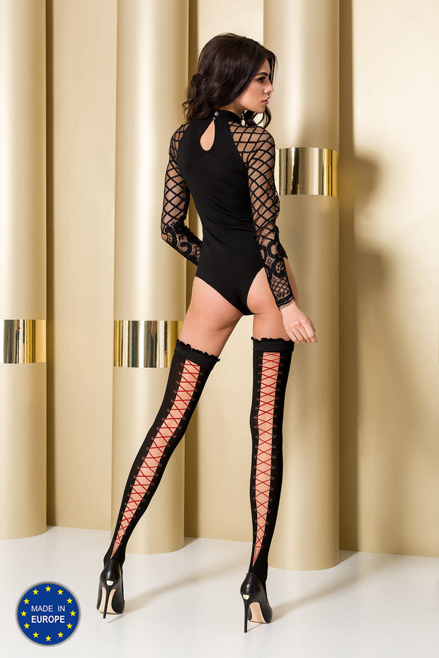 Passion ST101 Hold Ups Lace up effect back Pattern Ruffled Elasticated Tops