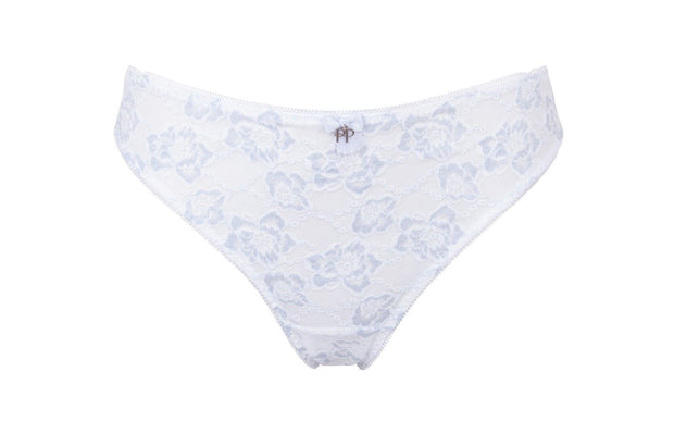 Chloe Brazilian Knickers White - Blue