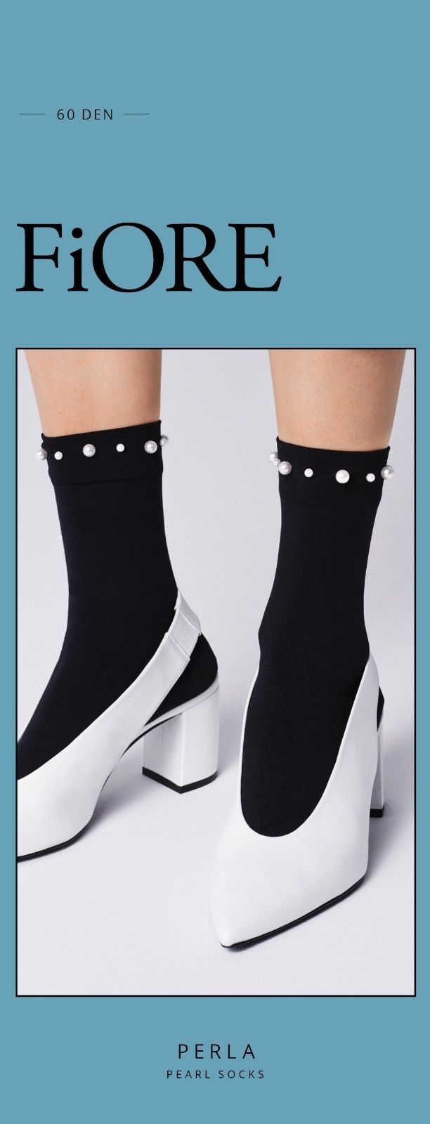 FiORE Perla Short Ankle High Socks 60 Denier Black with Faux Pearl Embellishment