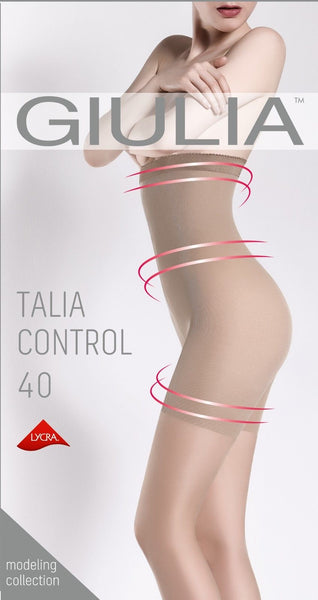 Giulia Talia Control High Waist 40 Denier Semi Opaque Tights + Silicone Band
