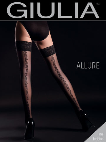 Giulia Allure 20 Denier Floral Back Seam Patterned Hold Ups Style 2