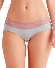 Casual Comfort Shorty Knickers Underwear Grey and Pink Lace