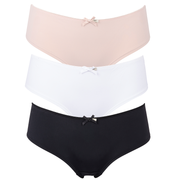 Olivia Bikini, Cheeky Shorts or thong 3 Pair Pack Black White and Nude