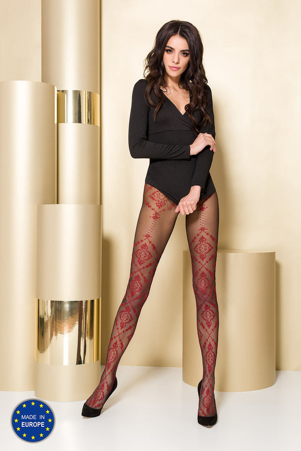 Passion TI105 Patterned Tights 20 Denier STW grey or red pattern on black leg