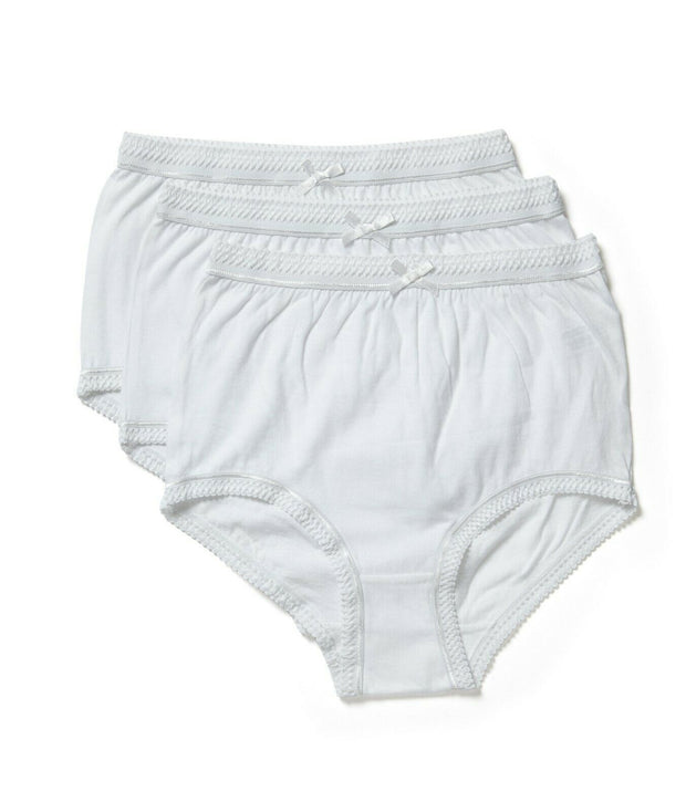Marlon 100% Cotton Full Briefs Knickers 3 Pair Pack White SIZE 12-38