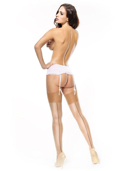 Miss O Gloss Contrast Back Seam Stockings 15 Denier - Belt Required