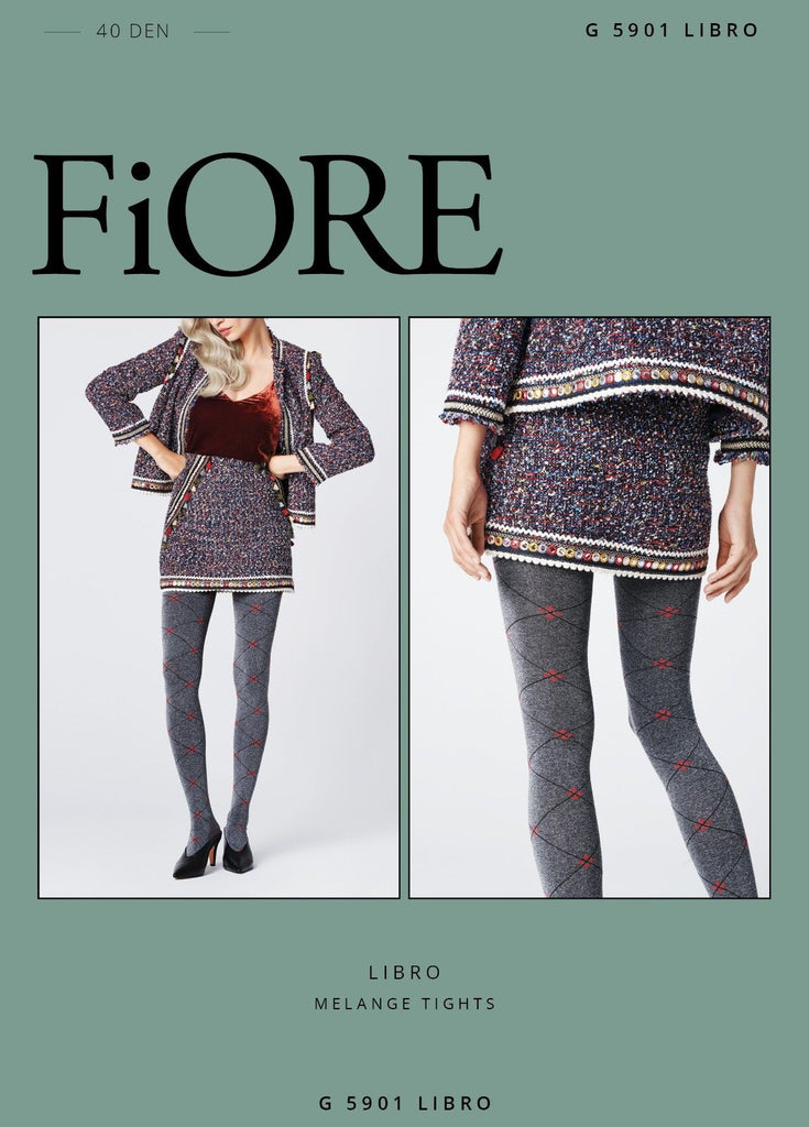 f69f66be47296 FiORE Libro Diamond Patterned Opaque Tights 40 Denier Red highlights o –  Simply Hosiery Online