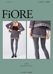 FiORE Libro Diamond Patterned Opaque Tights 40 Denier Red highlights on Melange