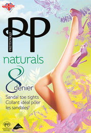 Pretty Polly Naturals 8 Denier Sheer Sandal Toe Tights (not open toe) S-XL