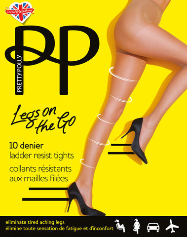 Pretty Polly Legs on The Go Light Compression Run Resist Tights 10 Denier