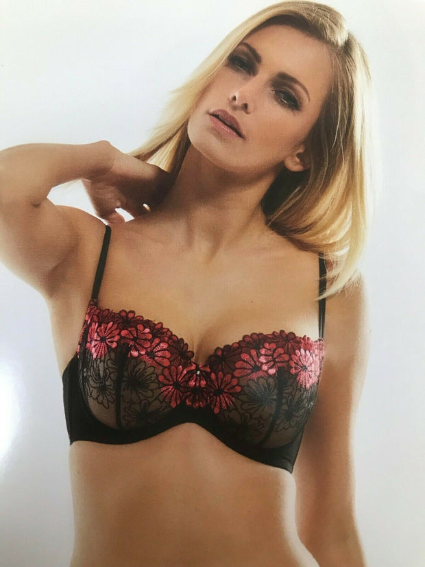 Kris Line Alice Half Cup Soft Bra in Black and Red Back Size 36 - 42 Cup I - N