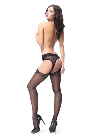 Miss O Open Body & Gusset Tights Suspender Stripanty Tights 20 Denier Lace Top sp301