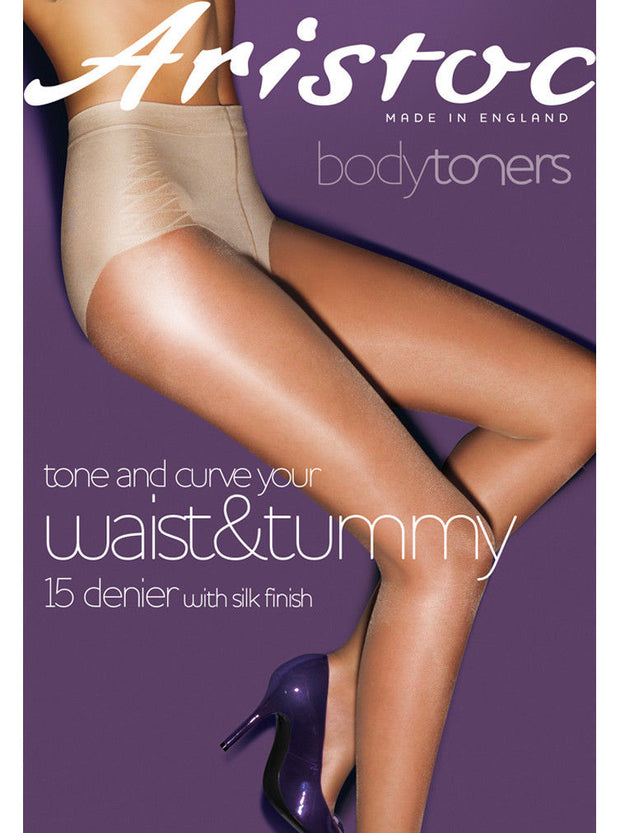 Aristoc Bodytoners Waist & Tummy Shaping Tights 15 Denier Satin Shine High Leg