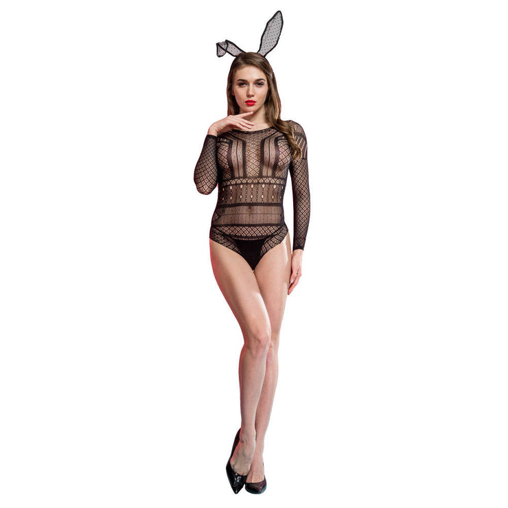 Cindylove The Rose Body Stocking Large fishnet lace all in one body long sleeves