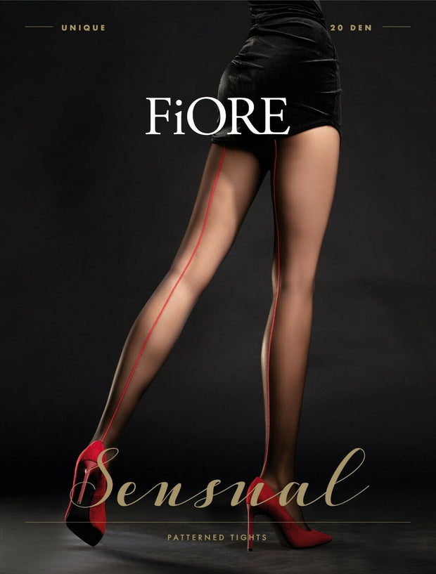 FiORE Unique Tights 20 Denier with Contrast RED back seam