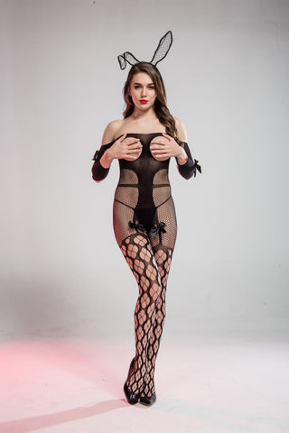 Cindylove The Amber Body Stocking with Large Open Gusset Open chest & Bows
