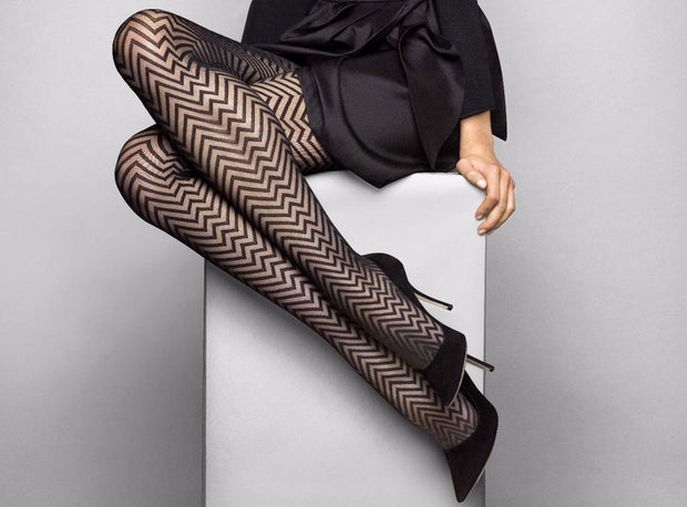 Le Bourget Heritage Collant Luxe Chevron 20 Denier Patterned Tights