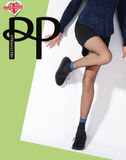 Pretty Polly Fishnet Ankle Sock Tights Black 1 Pair One Size Built in socks