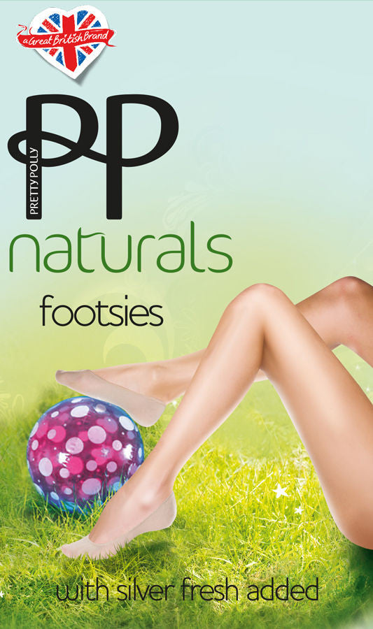 Pretty Polly Footsies Footlets No Show liners Laser Cut & Antibacterial Silver