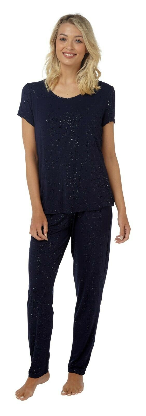 Navy Blue And Sparkles Top and Trouser PJ Set