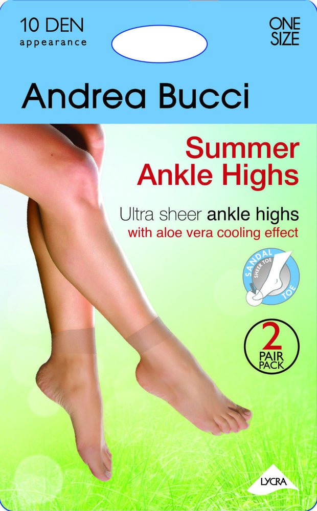 Andrea Bucci Ultra Sheer Summer Ankle High Socks 10 Denier 2 Pairs + Aloe Vera