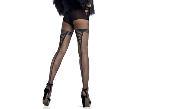 Le Bourget Collant Emotion 20 Denier Patterned Tights Fancy brief & Back Seam