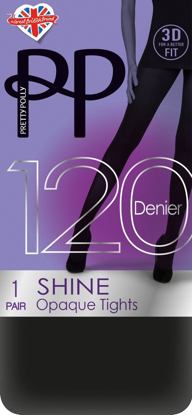 Pretty Polly 3D Shine Opaque Tights 120 Denier