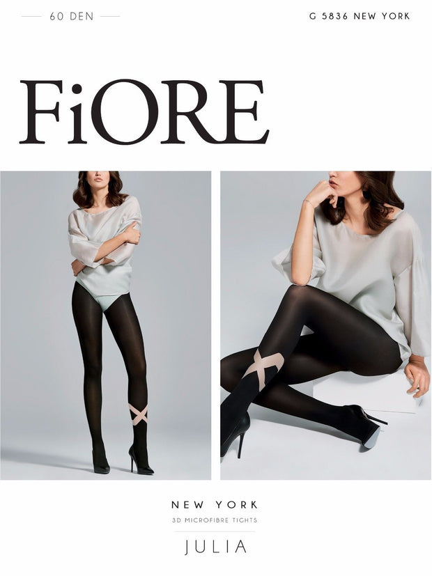 Fiore New York 3D Microfibre X Patterned Opaque Tights 60 Denier