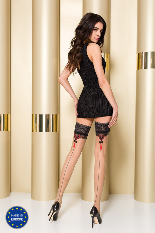 Passion ST105 Hold Ups Lace Tops Contrast Back Seam and Bow Pattern