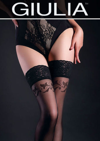 Giulia Allure 20 Denier Patterned Lace Top Hold Ups #12