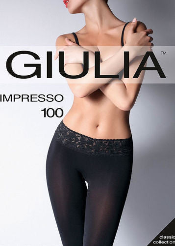 Giulia Impresso 100 Denier Lace Top Tights Vita Bassa Hipster Silicone Band Top