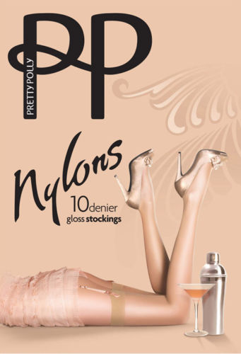Pretty Polly Nylons Gloss Stockings 10 Denier Plain Welt Tops