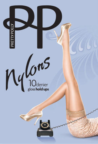 Pretty Polly Nylons 10 Denier Gloss Lace Top Hold Ups Reinforced Toes