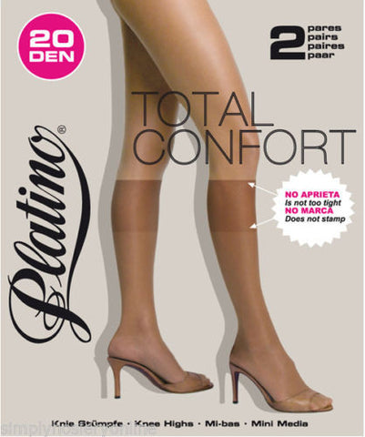 Platino Total Confort Knee High Socks 2 Pair Pack Comfort fit