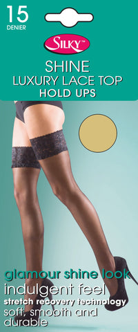 Super Shine Lace Top Hold Ups by Silky 15 Denier