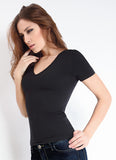 Giulia Seamless Microfiber V Neck Short Sleeved T Shirt