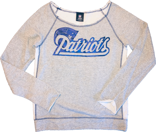 NFL Apparel Patriots Off-Shoulder Sweatshirt - Grey