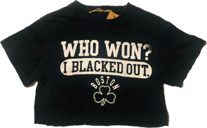 "Celtics ""Blacked Out"" Crop Top Tee - Black"