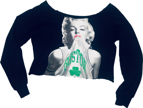 Miami-Style Marilyn Monroe Celtics Off-Shoulder Crop Sweatshirt - Black