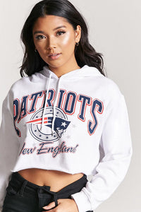 Forever 21 Patriots Crop Hoodie - White