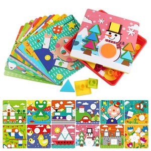 Early Learning Educational Toys Button Art for Toddler, Color & Geometry Shape Matching Mosaic Puzzle Peg Board Games for Preschool Kids
