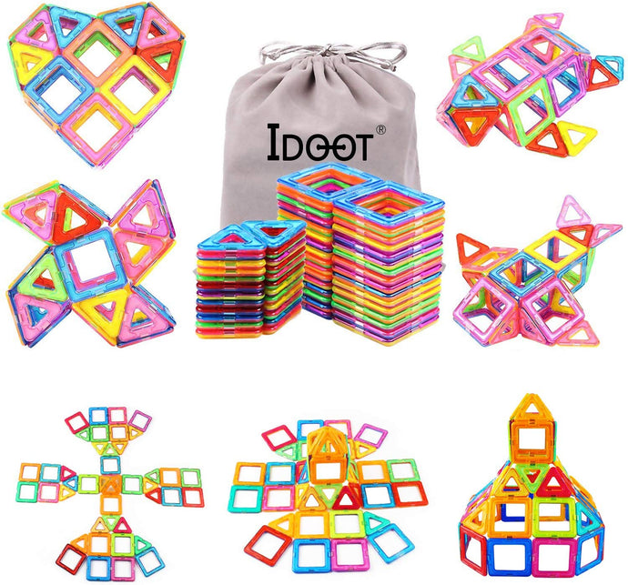 idoot Magnetic Blocks Building Set for Kids, Magnetic Tiles Educational Building Construction Toys for Boys & Girls with Storage Bag - 56Pcs