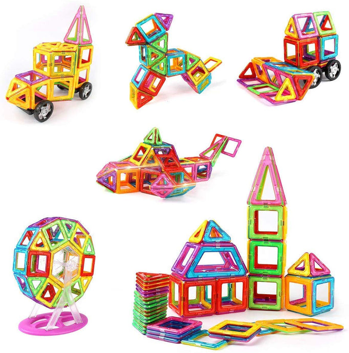 idoot Magnetic Blocks for Kids, Educational Building Toys Magnetic Tiles Ferris Wheel Stem Set - 100Pcs, Rainbow