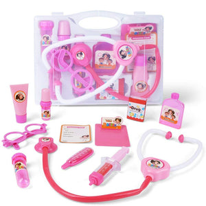10pcs Pink Doctor Kit Pretend and Play Medical Toys Set with Carry Case for Kids and Girls