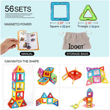 Load image into Gallery viewer, idoot Magnetic Blocks Building Set for Kids, Magnetic Tiles Educational Building Construction Toys for Boys & Girls with Storage Bag - 56Pcs