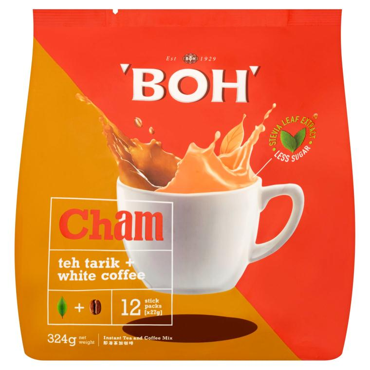 BOH - Cham Teh Tarik + White Coffee Instant Tea and Coffee Mix (27g x 12 (324g)