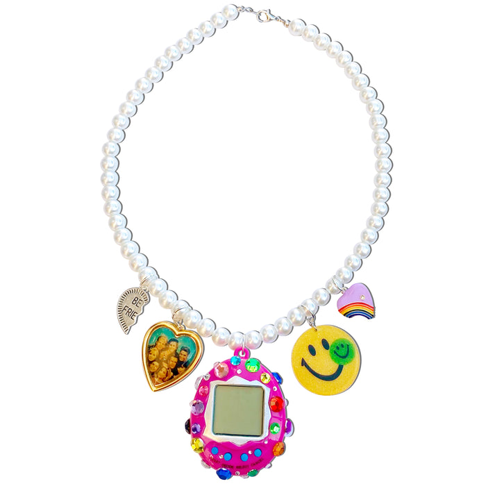 Bedazzled Cyber Pet Charm Necklace